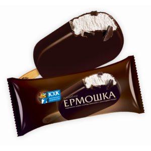 Ермошка, Пломбир высшего сорта, изготовлен по традиционному   рецепту из цельного коровьего молока в хрустящей шоколадной глазури. Обладатель золотой медали Всероссийского конкурса «100 лучших товаров России».