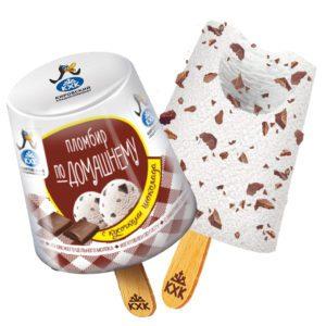 """По-домашнему, Классический пломбир в форме """"фонарика"""" с шоколадной крошкой придется по вкусу любому сладкоежке."""