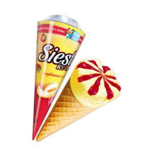 Siesta, Попробуй вкус лета! Изысканный десерт, сочный микс из клубники и спелой дыни в одном рожке, придутся по вкусу настоящим гурманам.