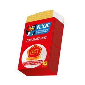 Купить оптом ГОСТ, 100% пломбир с нежным ароматом ванили, приготовленный по ГОСТу, на вафлях.