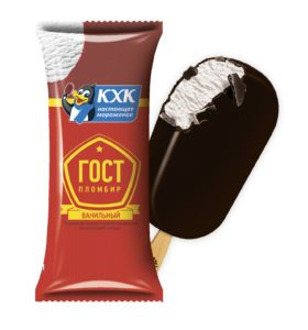ГОСТ, 100% пломбир с нежным ароматом ванили, приготовленный по ГОСТу, в шоколадной глазури.