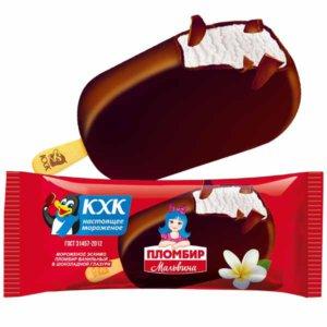 Мальвина, Традиционный ванильный пломбир и хрустящая шоколадная глазурь сделали это эскимо популярным среди детей и взрослых.