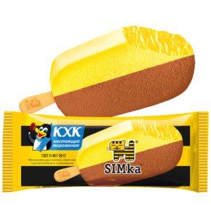 Simka, Двухслойное сливочное мороженое со вкусом спелого банана и шоколада.
