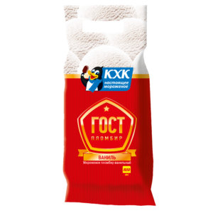 Купить оптом ГОСТ, 100% пломбир с нежным ароматом ванили, приготовленный по ГОСТу.