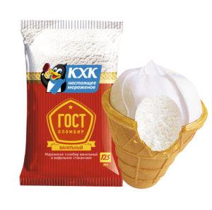 ГОСТ, 100% пломбир с нежным ароматом ванили, приготовленный по ГОСТу, в вафельном стаканчике.