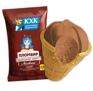 Мальвина, Традиционный пломбир с ярким шоколадным вкусом в вафельном стаканчике.