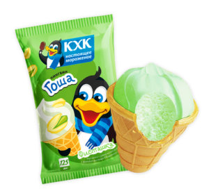 Пингвин Гоша, Мороженое с ярким, насыщенный вкусом фисташки и веселым пингвином на этикетке.