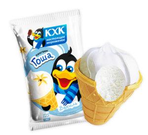 Пингвин Гоша, Мороженое с нежным ванильным вкусом и веселым пингвином на этикетке.