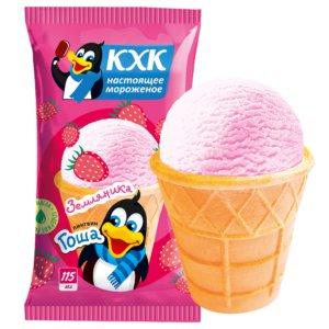 Пингвин Гоша, Мороженое со вкусом спелой земляники и веселым пингвином на этикетке.