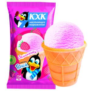 Пингвин Гоша, Ванильное мороженое со вкусом спелой земляники и веселым пингвином на этикетке.