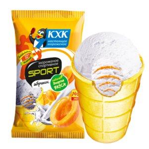 Спортивное, Легкое сливочное мороженое с абрикосовым джемом.