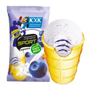 Спортивное, Легкое сливочное мороженое с черничным джемом.