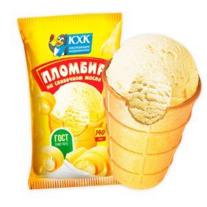 Пломбир на сливочном масле, Нежный пломбир, изготовленный из цельного коровьего молока и сливочного масла, в вафельном стаканчике.