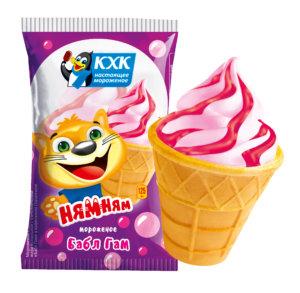 Ням-ням, Лучшее, что может быть за три монетки! Ванильное мороженое с сочным джемом бабл-гам от верхушки до самого кончика.