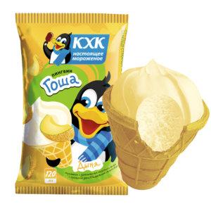 Пингвин Гоша, Ванильное мороженое со вкусом спелой дыни и веселым пингвином на этикетке.