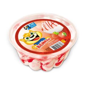 Ням-Ням, Ванильное мороженое с клубничным джемом в большом пластиковом контейнере