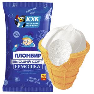 Ермошка , Пломбир высшего сорта, изготовлен по традиционному рецепту из цельного коровьего молока и сливочного масла.  Любимый вкус теперь в новой большой упаковке.