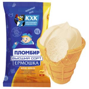 Ермошка , Новый вкус пломбира. Пломбир крем-брюле высшего сорта, изготовлен по традиционному рецепту из цельного коровьего молока и сливочного масла.  Любимые вкусы в большой упаковке.