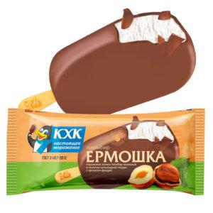 Ермошка, Пломбир высшего сорта, изготовлен по традиционному рецепту из цельного коровьего молока, в молочном шоколаде с  ароматом фундука.