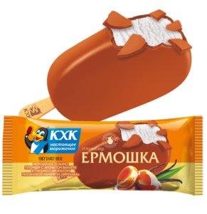 Ермошка, Пломбир высшего сорта, изготовлен по традиционному рецепту из цельного коровьего молока, в карамельной глазури.
