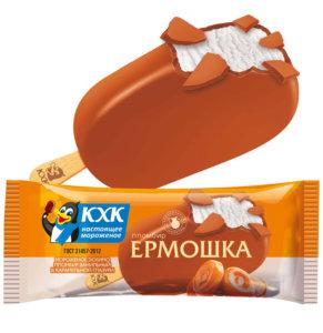 Купить оптом Ермошка, Пломбир высшего сорта, изготовлен по традиционному рецепту из цельного коровьего молока, в карамельной глазури.