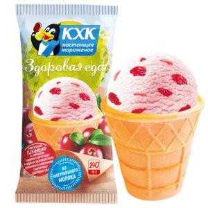 ЗДОРОВАЯ ЕДА, ЗДОРОВАЯ ЕДА нежный клюквенный пломбир с кусочками спелых ягод в вафельном стаканчике.