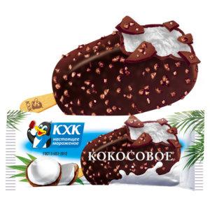 Купить оптом Кокосовое, Сливочное мороженое с кокосовой стружкой в нежной шоколадной глазури с вафельной крошкой.