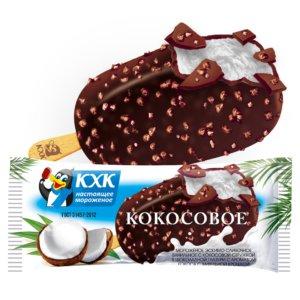 Кокосовое, Сливочное мороженое с кокосовой стружкой в нежной шоколадной глазури с вафельной крошкой.
