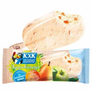 Здоровая еда, Здоровая еда пломбир груша-яблоко с мюсли-злаками в белой глазури с вафельной крошкой