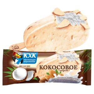 Кокосовое, Сливочное мороженое с кокосовой стружкой в белой глазури с миндалем
