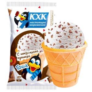 Пингвин Гоша, Мороженое с шоколадной крошкой и веселым пингвином на этикетке.